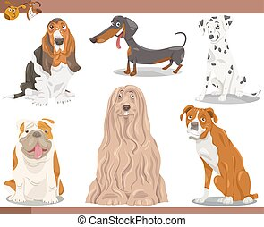 dog breeds cartoon illustration set