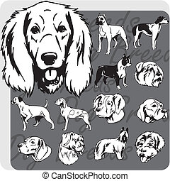 Dog Breeds - vector set - Dog breeds - vinyl-ready vector...