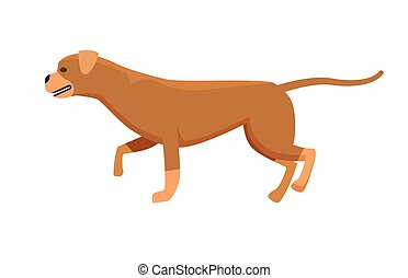 Dog Brown Color Profile View Vector Illustration