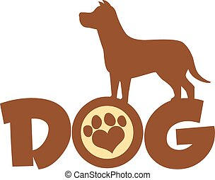 Dog Brown Silhouette Over Text