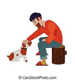 dog., brun, sien, storking, chasseur, petit, blanc