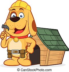 Dog builder with dog house - Clipart picture of a dog...