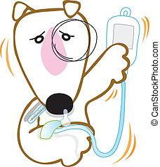 Dog Bull Terrier got sick at Vet hospital cartoon vector character design.