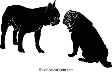 Dog Bulldog. The dog breed bulldog.Dog Bulldog black silhouette vector isolated on white background. Dog pug. Meeting two dogs of a bulldog and a pug
