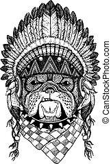 Dog, bulldog. Wild animal wearing inidan headdress with...