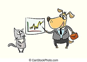 Dog businessman explains to cat finance, cute and funny hand drawn pets