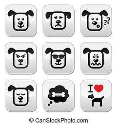 Dog buttons set - happy, sad, angry