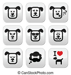 Vector buttons set of cute dog character expressing anger, happiness