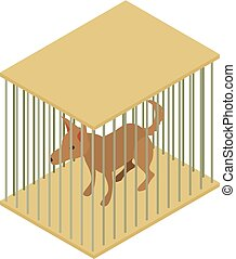 Dog cage icon, isometric 3d style