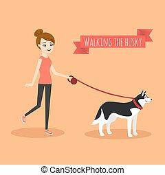 dog., camminare, lei, giovane, illustrazione, vettore, ragazza