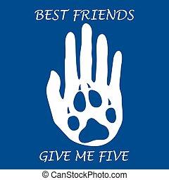 dog., carino, silhouette, umano, dare, forever., zampa, illustrazione, mano, me, vettore, presa a terra, five., amici