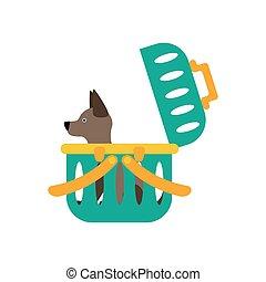 Dog carrier illustration - Dog carrier on the white...
