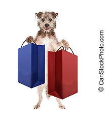 Dog Carrying Shopping Bags