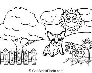 dog cartoon Coloring book vector