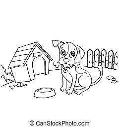 dog  cartoon coloring page vector illustration