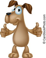 Dog cartoon giving thumbs up