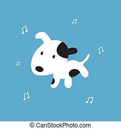 dog cartoon on blue background