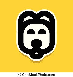 Dog cartoon style vector icon, funny and cute puppy face, vet clinic logo template.
