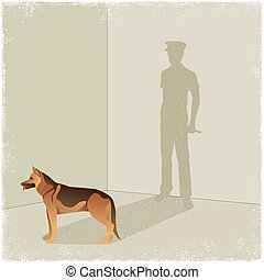 Dog casting shadow of guard in vector