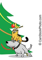 Dog, cat and bird decorating the Christmas tree. Isolated on...