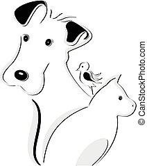 Dog cat and bird logo