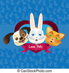 dog, cat and bunny label