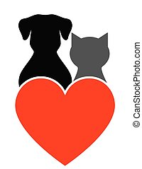 dog, cat and heart - dog, cat silhouette and red heart on...
