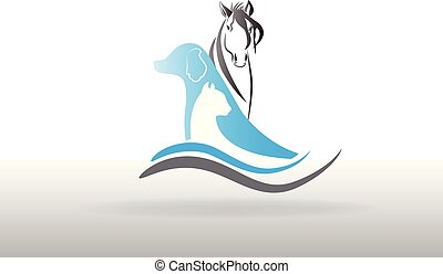 Dog cat and horse logo