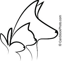 Dog cat and rabbit heads logo