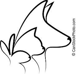 Dog cat and rabbit heads logo