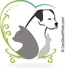Dog cat bird and rabbit love heart logo