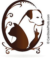 Dog cat bird and rabbit swirly vintage frame logo vector