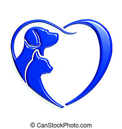 Dog cat blue heart love, 3D graphic isolated