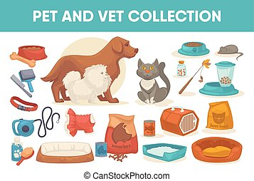 Dog cat pet stuff and supply set icons. Flat vector ...