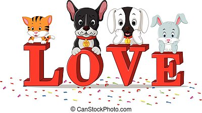 dog, cat, rabbit together with love