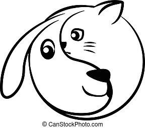 dog cat yinyang