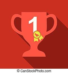 Dog champion cup. Vector flat cartoon illustration