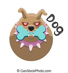 Dog character face holds a bone in its teeth on a white isolated background. Vector image