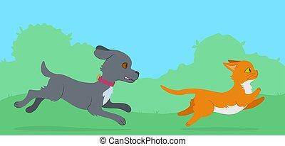 Dog chasing a cat