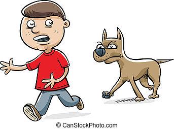 Dog Chasing Boy - A serious cartoon dog stalks a young boy.