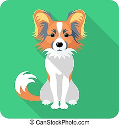 dog Chinese Crested icon flat design - Vector serious dog...