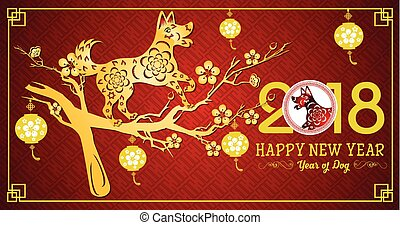 dog., chinesisches , year., lunar, jahr, neu , glücklich, 2018