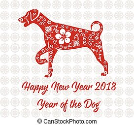 dog., chino, 2018, año, nuevo, tarjeta, feliz
