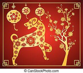 dog., chino, 2018, celebración, cepillo, año, nuevo, feliz, lunar