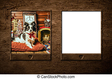Dog Christmas card, blank frame. - Dog, Christmas cards.Set...