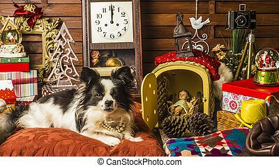 Dog Christmas greeting card