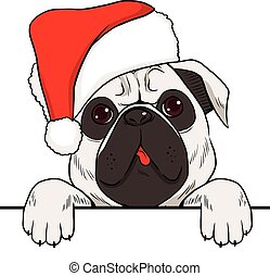 Dog Christmas Hat - Dog wearing red Christmas hat with empty...