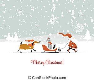 dog., claus, chat, santa, noël carte