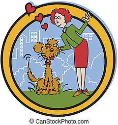 Dog clip art - Dog with owner or pet sitter in park clip art...