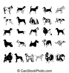 dog clipart cartoon. Vector Illustration.. Collection set